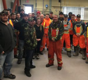 Dan Carrocci (centre) with third-semester Fleming College Drilling students.