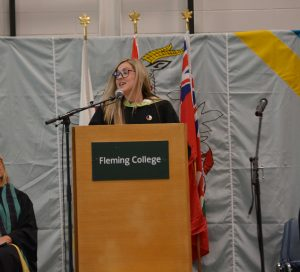 Indigenous Student Services Coordinator Ashley Safar at convocation
