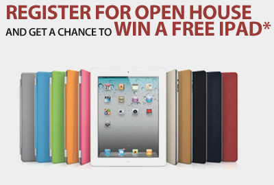 Register for open house and get a chance to win a free iPad