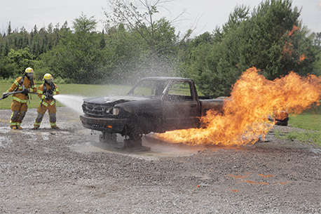 A vehicle on fire
