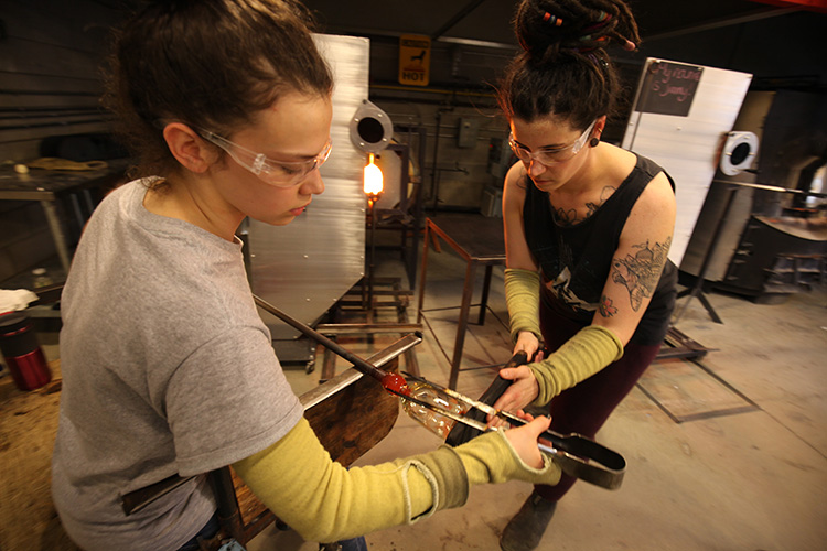 Glassblowing students