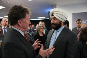 Fleming College President Tony Tilly with Navdeep Bains, Minister of Innovation, Science, and Economic Development.