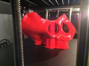 Students used a 3D printer to create parts of the installation.