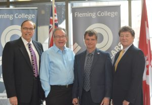 (l-r) Peterborough Mayor Daryl Bennett, MPP Jeff Leal, Peterborough County Warden Joe Taylor and President Tony Tilly.